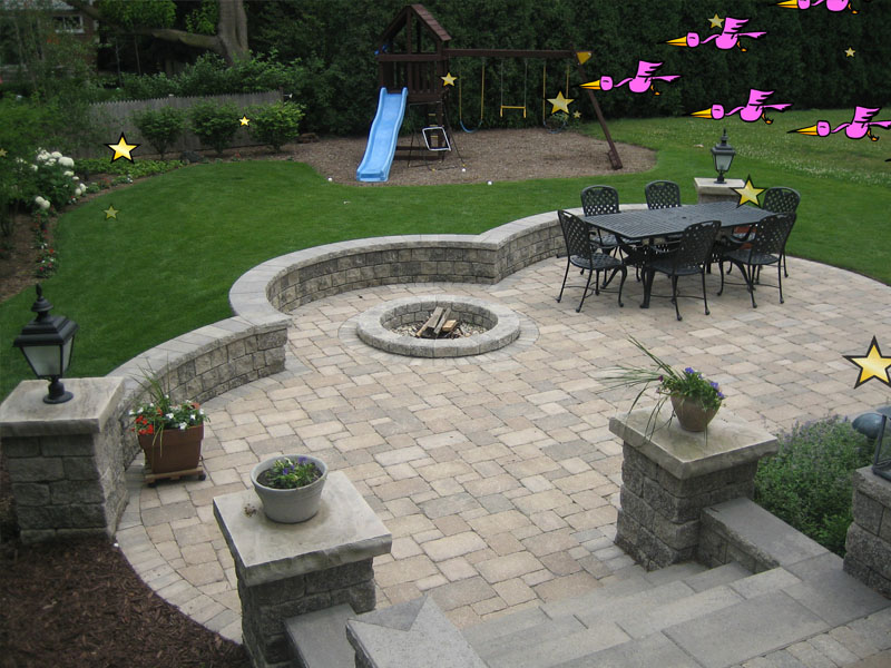 Fire pits fire places 3d brick paving for Small stone patio ideas